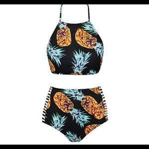 Other - Pineapple 🍍 halter high rise 2 piece swim suit